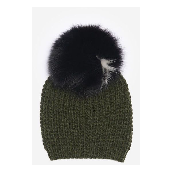 Billie Two-Tone Beanie. ❤ liked on Polyvore featuring accessories, hats, pom pom hat, beanie cap, fur pom pom hat, pom beanie and two tone hat