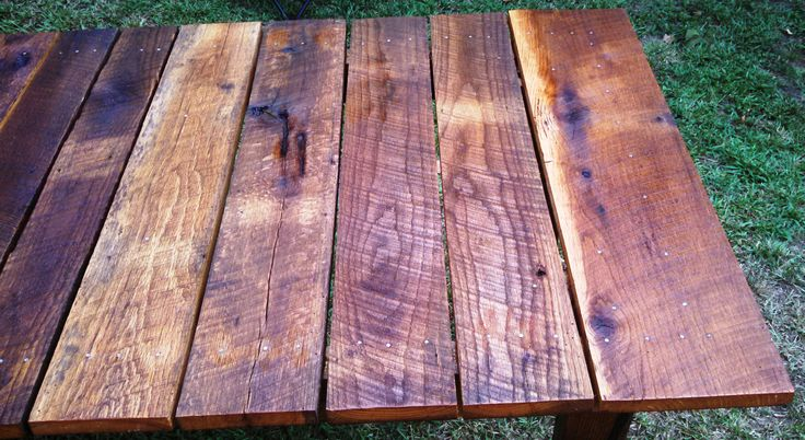 For my brother's new shop. Not level or perfect but it is his now.  Made from oak reclaimed from a barn in Hall County, GA.  Measures 61-1/2 x 35.  Was supposed to be 62x36 but stuff happens. It soaked up a quart of linseed oil cut in half with mineral spirits.  I gave the top an extra coat of Danish Oil and finished it all off with a little home made wipe-on poly (half Min-wax polyurethane and half mineral spirits).  Reclaimed wood always put up a fight but I think it is worth it in the…