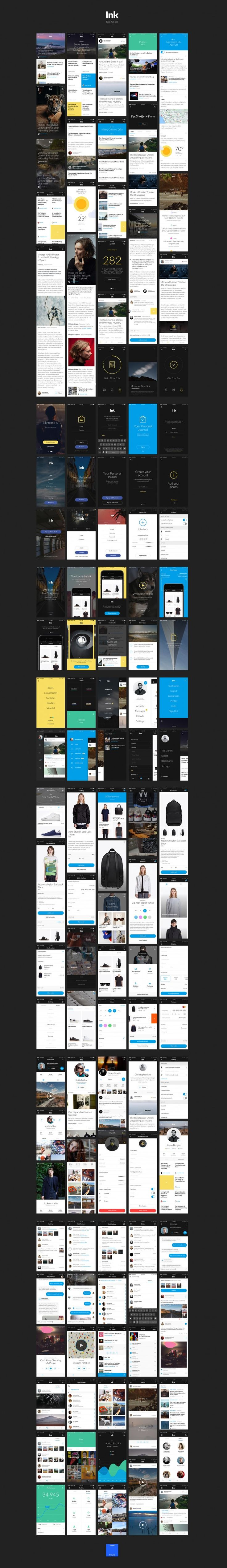 Ink UI Kit – 120  iOS screens