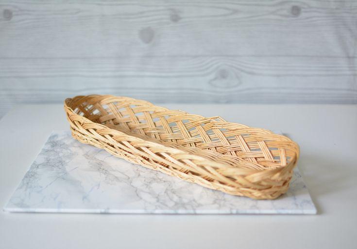 Baguette Korb, langer Brotkorb Vintage, rustikale französische Landhausküche, Baguettekorb, geflochtener Wicker Brot Korb, Boho Dekor