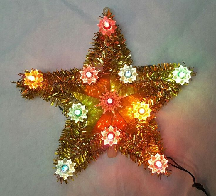 Garland Tinsel. Christmas Tree Topper. All 11 lights work ...
