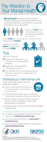 Your mental and physical health are closely connected. Pay attention to your mental health during National Women's Health Week. www.womenshealth.gov/nwhw #NWHW