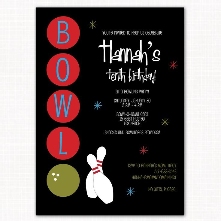 31 best birthday party ideas images on pinterest birthday party bowling party invitation custom printable bowl o rama 1500 via stopboris Choice Image