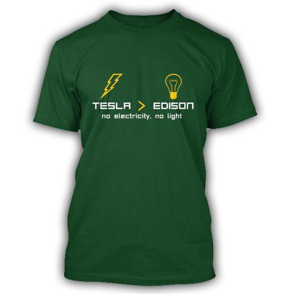 NIKOLA TESLA vs EDISON Green premium T-Shirt