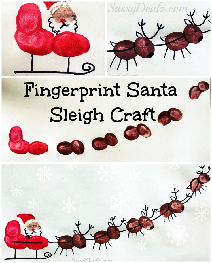 Santa's Sleigh w/ Flying Reindeer Fingerprint Craft For Kids  #Santa paint art project #Christmas craft for kids | CraftyMorning.com