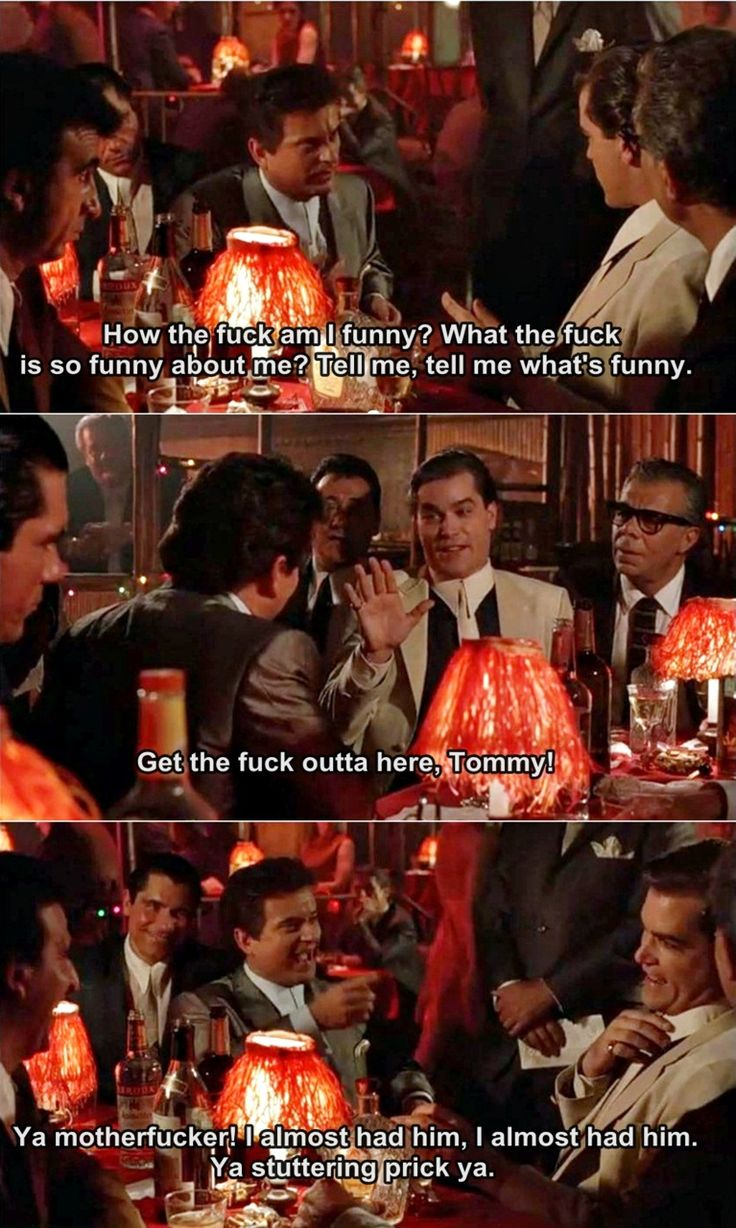 """Goodfellas - Legendary (yet non-scripted) scene with Tommy DeVito (Joe Pesci) demanding to know why Henry Hill (Ray Liota) thinks he's funny #GangsterFlick"" PLEASE tell me this is legit. The best scenes in movies are often ablib! It's extraordinary."