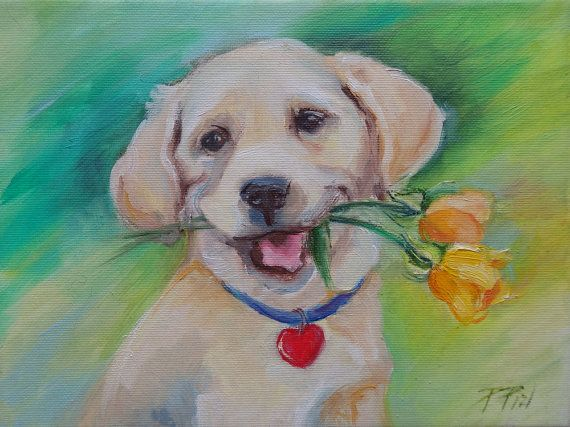 DOG PORTRAIT Original Oil Painting on canvas  by CanisArtStudio