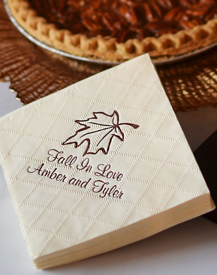Whether serving pecan pie or hot spiced cider at your October or November fall theme wedding reception, diamond pattern embossed cocktail and beverage napkins personalized with an autumn theme design and the bride and groom's name will add the finishing touches to your fall wedding dessert table and drink station or bar. These napkins can be ordered at http://myweddingreceptionideas.com/personalized-diamond-paper-fall-cocktail-napkins.asp