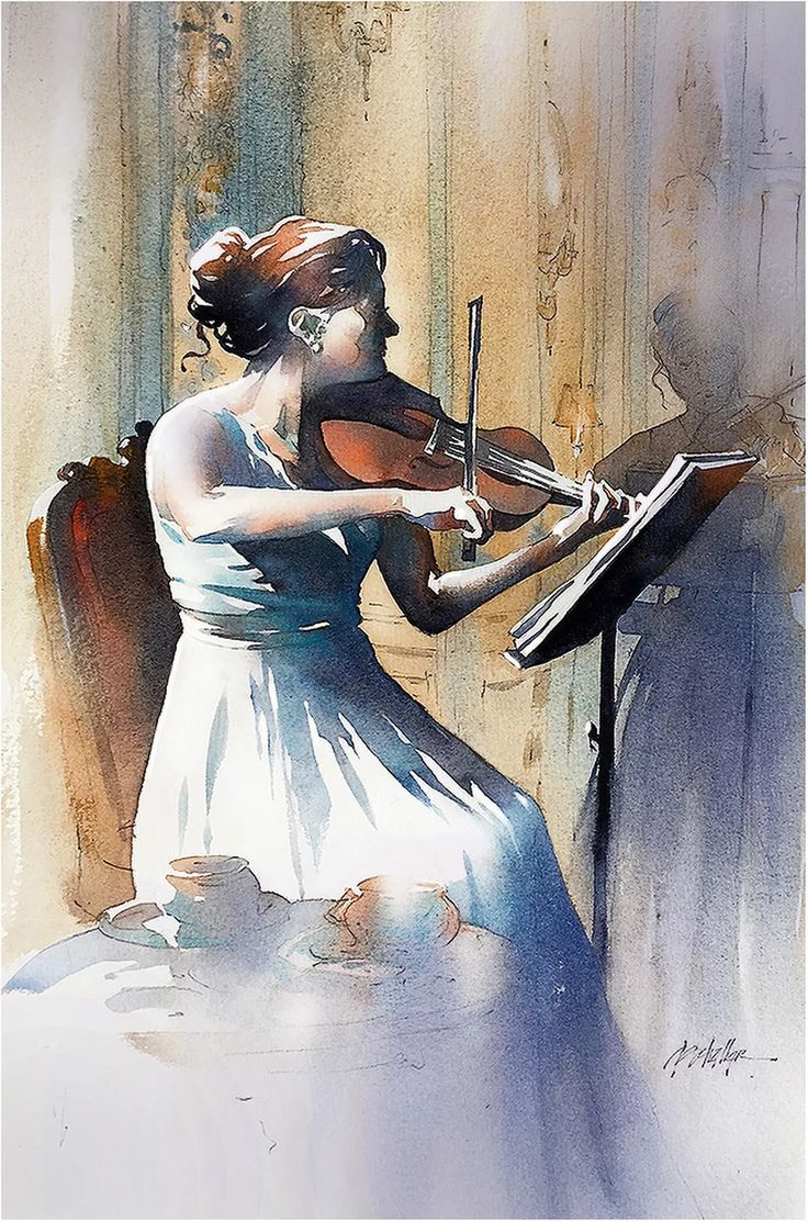 At the pushkin cafe moscow thomas w schaller watercolor 22x15 inches 20