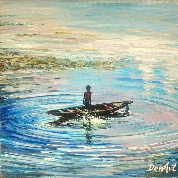 Free shipping original painting showing peaceful fishing boat and a child on it.