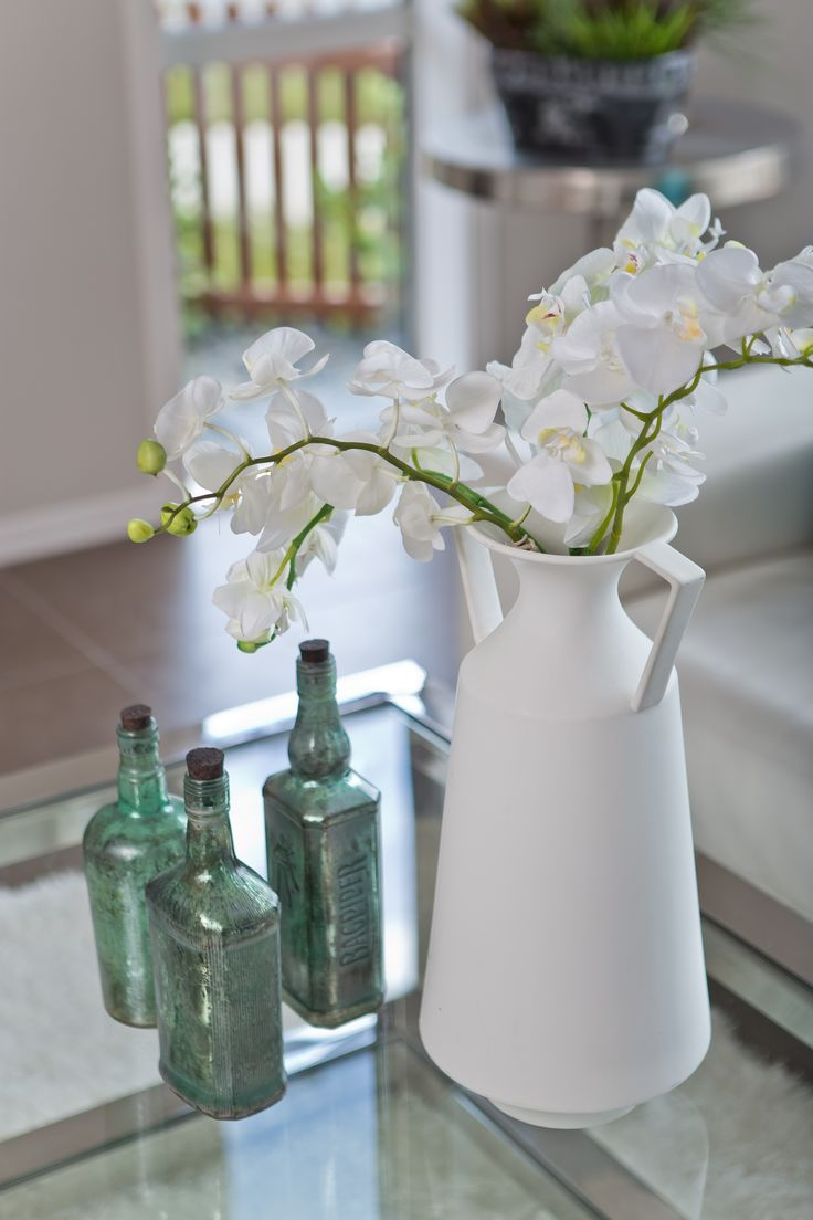 Home Staging | Interior Design Orchids with Duck Egg Blue Vases
