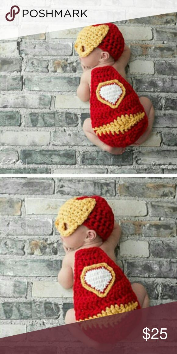 Baby Iron Man crochet outfit New Baby Iron Man crochet outfit,Handmade beanie Hat,cape clothes,Baby First Pictures Costumes Halloween