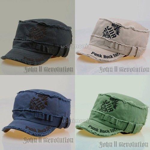 Vintage Hats Caps for Men Women Punk Rock Army Cadet Hat Size 7 1/8 7 1/4 7 3/8