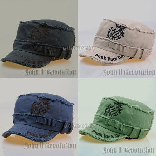 Vintage Hats Caps for Men Women Punk Rock Army Cadet Hat Size 7 1/8 7 1/4 7 3/8