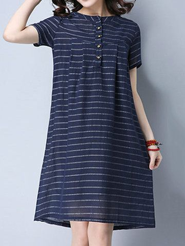 Striped Short Sleeve O Neck Button Decoration Women Dresses