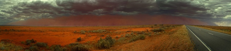 A dust storm approaches highway 32 out of Broken Hill.