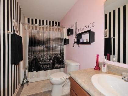 Maybe not for a bathroom....but I love the Paris theme! Black, white, pink <333 -Becca<3