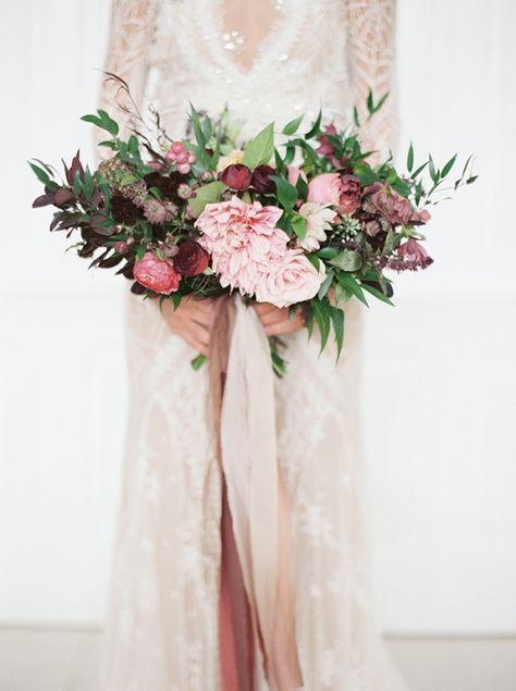 Romantic Lace Wedding Dress with a Blush and Burgundy Bouquet | Taylor Lord Photography | http://heyweddinglady.com/modern-barn-wedding-cognac-blackberry/