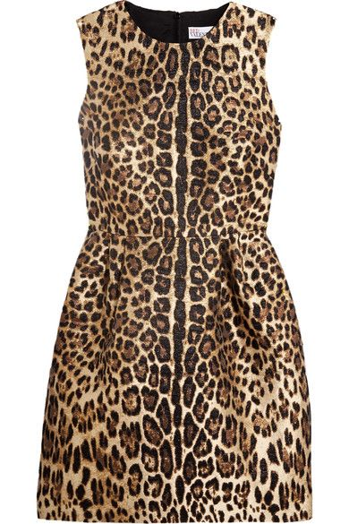 REDValentino - Leopard Lamé-jacquard Mini Dress - Leopard print - IT