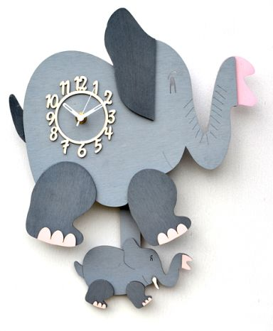 Elephant Handmade Wooden Pendulum Wall Clock For Kids Bedroom Accessories For Kids Jungle Themed Bedroom