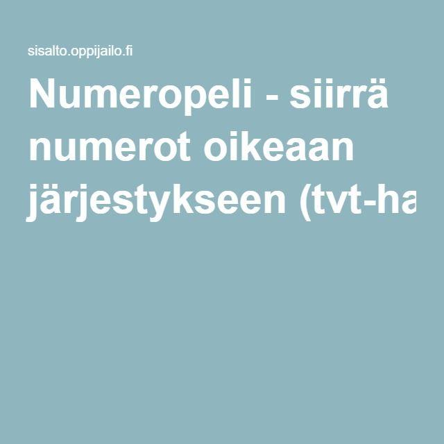 Numeropeli - siirrä numerot oikeaan järjestykseen (tvt-harjoitus).