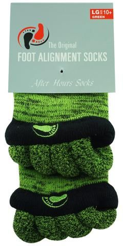 Green Foot Alignment Socks for help with hammer toes, plantar fasciitis