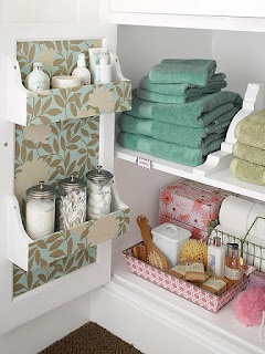 Shelves on the bathroom cabinet doors, since there are no drawers. --