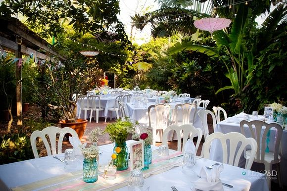 Key West Themed Backyard :  Shabby Chic Carnival themed wedding in a historic Key West garden