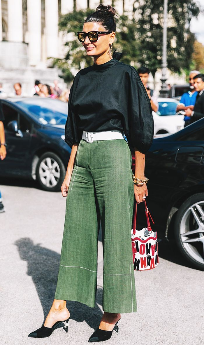Green Culottes and pointed mules