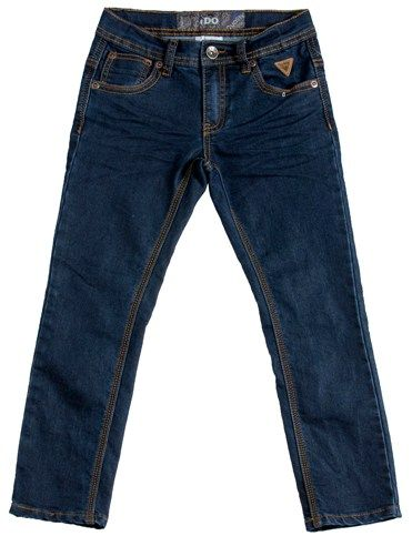Pantalón vaquero clásico de niño en azul oscuro con costuras en ocre - Pantalones para Niños de 4 a 16 Años - Mundo Kiriko