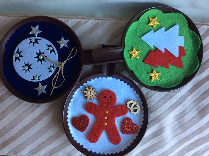 Christmas ornaments on recycled plastic saucers #5