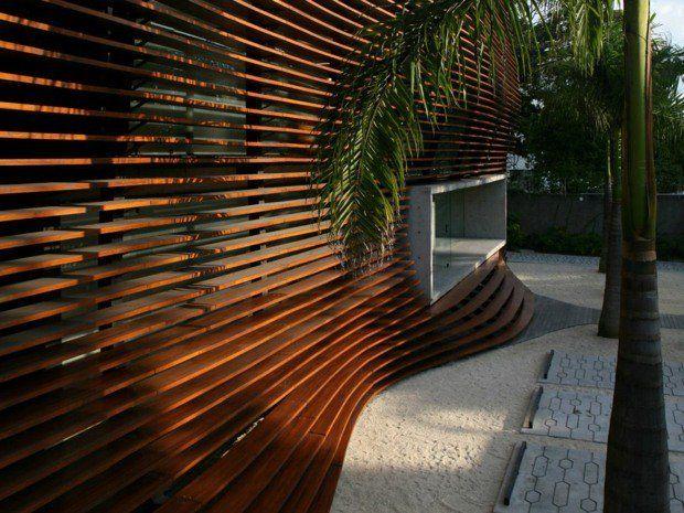 cloison extérieure ondulante en bois