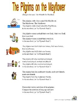 The Pilgrims on the Mayflower song with printable