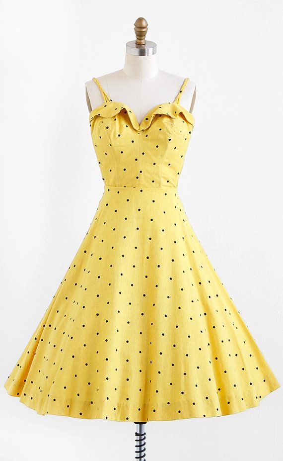 Vintage 1950s dress / 50s dress / Yellow and Black Polkadot Top and Skirt Set | Pinterest ...