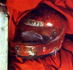 Niki Lauda's helmet after his crash at the Nurburgring in 1976.