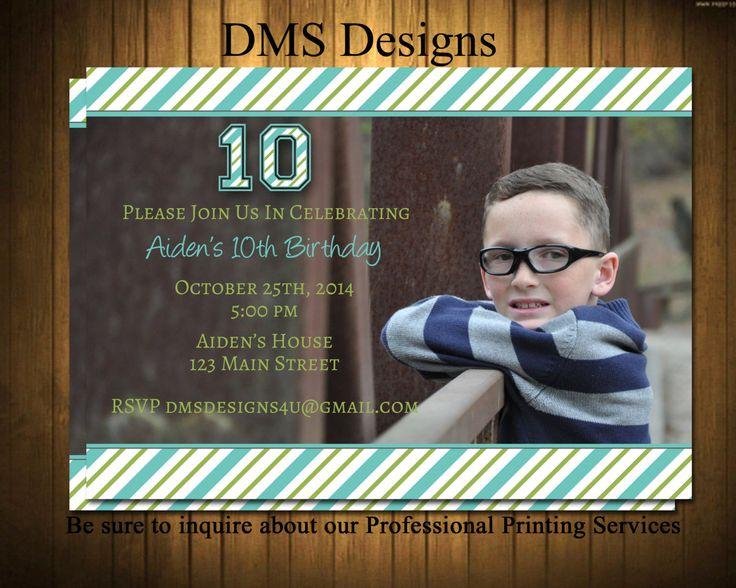 Boys Birthday Invitation~ Photo Invitaiton~ Teen Birthday Invitation by DesignsByDMS on Etsy