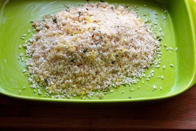 Just used this recipe for baked lemon risotto as a guide to adapt ...