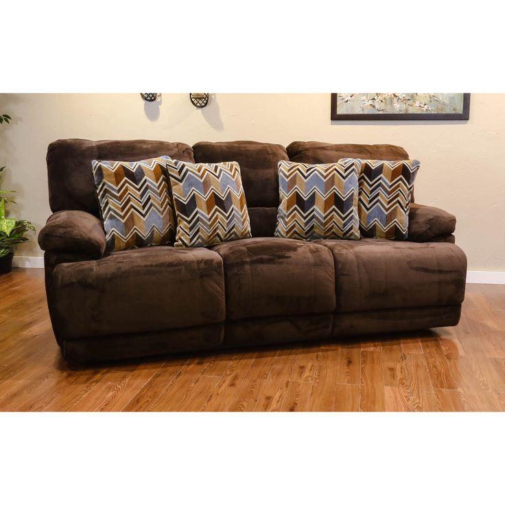 Somette Morganville Series Chocolate Microfiber Reclining Sofa (Somette  Morganville Microfiber Reclining Sofa), Brown