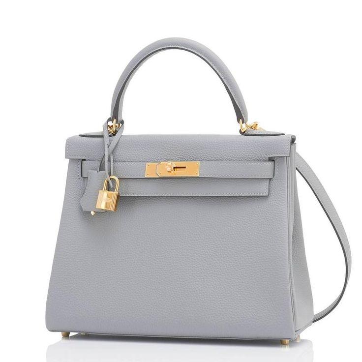 Hermes Gris Mouette 28cm Kelly Bag Togo Grey Gold Hardware  5