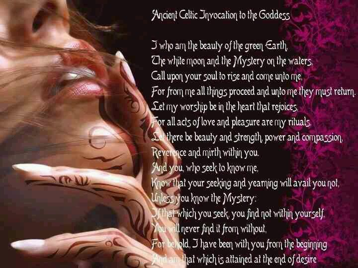 Ancient Celtic Invocation to the Goddess