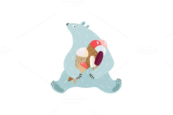 Check out Polar Bear and Ice Cream by Popmarleo Shop on Creative Market