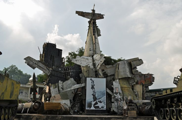Vietnam: a War Revisited' Wreckage from US aircraft shot down over Hanoi. This arrangement is in the grounds of the Military History Museum, Hanoi.