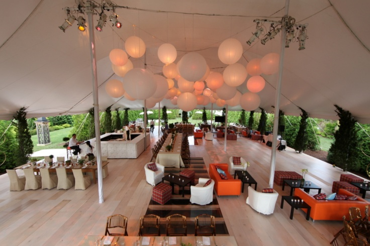 Tent with Wood Floor, Lounge Seating, Asian Lanterns // Skyline Tent Company