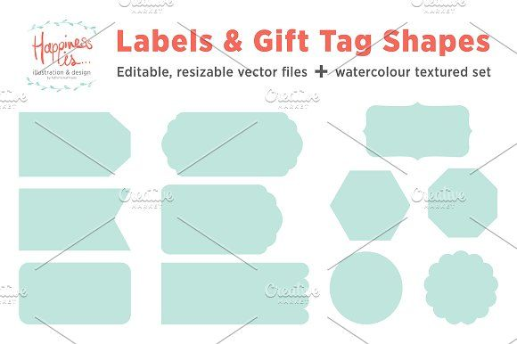 12 Gift Tags & Label Shapes by Fathima's Studio on @creativemarket