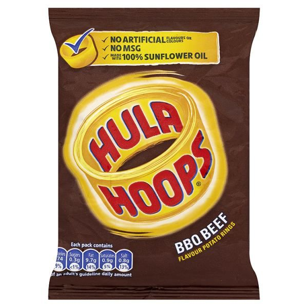 Buy Hula Hoops BBQ Beef Flavour Crisps Potato Rings 34g 48 Pack at CinemaSnacks.co.uk