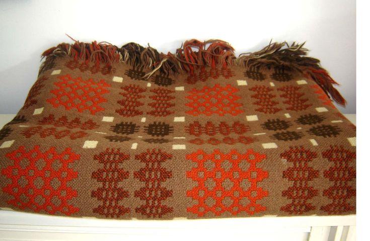 Vintage Reversible Welsh Wool Blanket CAMBRIAN MILLS LLANDYSSUL Rustic Colours , £155.00