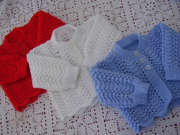 Handknitted by me. Available in lots of different colours - on website or FB page. Butterfly Babywear Boutique.