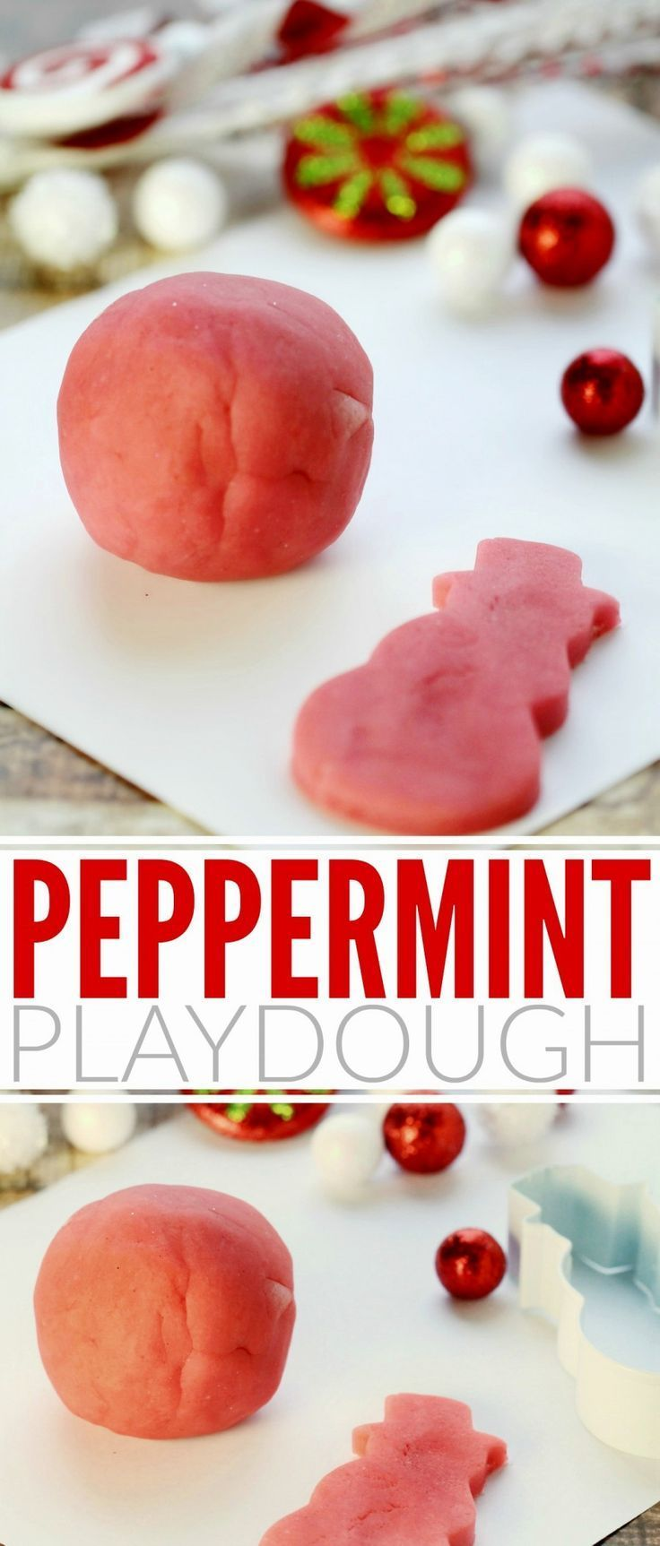 This Peppermint Playdough recipe is not only edible, it also smells great too! Kids will love playing with this fun scented homemade playdough!