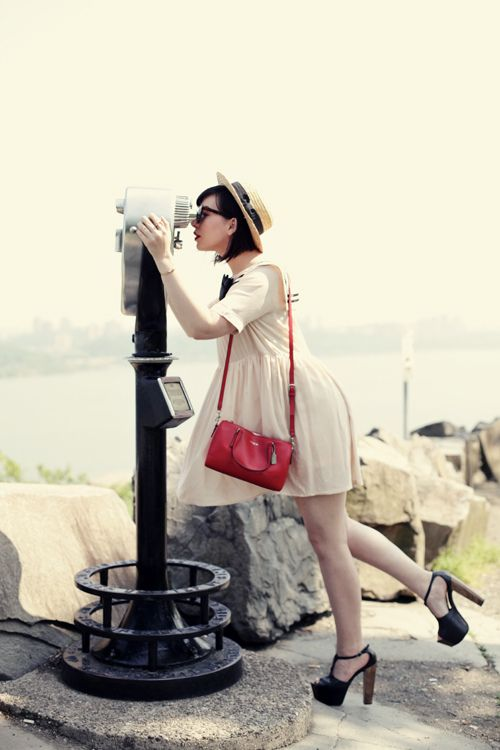 Sailor dress and straw boater hat