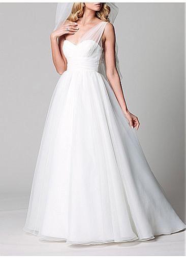 Elegant Tulle A-line One Shoulder Neckline Empire Waist Bridal Dress